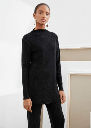 And other stories Plisse Textured Mini Dress