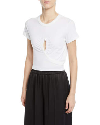 Alexander Wang High Twist Jersey Cropped Tee with Keyhole