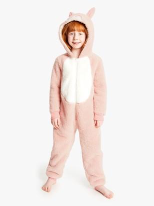 John Lewis & Partners Girls' Rabbit Onesie, Pink