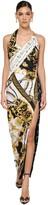 Versace SLIT PRINTED STRETCH JERSEY DRESS
