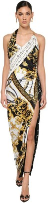 Versace Slit Printed Stretch Jersey Dress