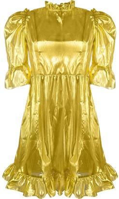 Batsheva metallic ruffle trim dress