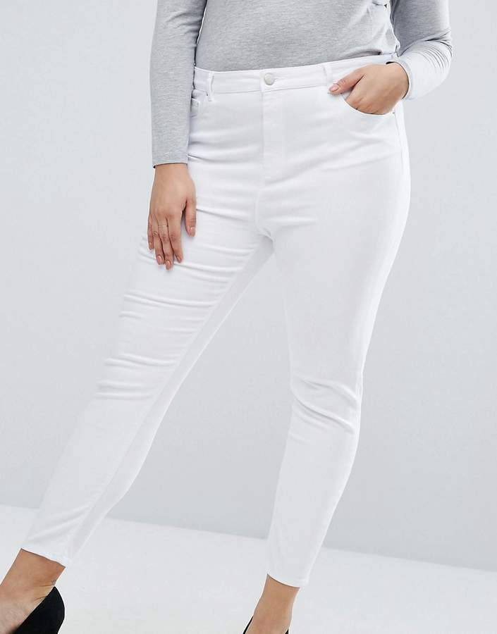 Asos Ridley High Waist Skinny Jeans In Optic White