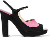 Moschino Leather-trimmed suede sandals