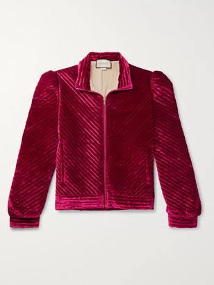 Gucci Logo-Jacquard Webbing-Trimmed Quilted Padded Velvet Jacket