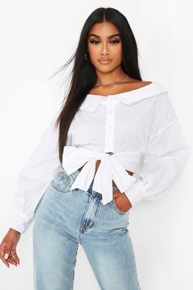 boohoo Off The Shoulder White Shirt
