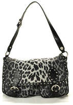 Moschino Chic Black Leopard Print Silver Tone Detail Leather Trim Handbag