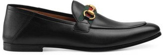 Gucci Leather Horsebit Loafer With Web