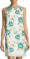 Max Studio Floral-Embroidered Halter Dress, Blue/Green