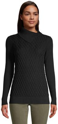 Lands' End Petite Mixed-Stitch Split Turtleneck Sweater