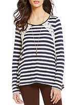 Jolt Lace-Up Striped Super-Soft High-Low Long-Sleeve Knit Top