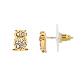 Lauren Conrad Gold Tone Owl Button Nickel Free Earrings