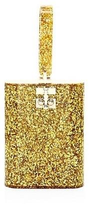 Edie Parker Oval Glitter Acrylic Clutch