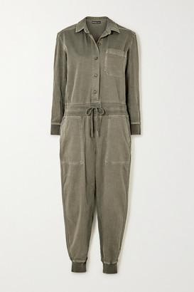 James Perse Mixed Media Slub Cotton-blend Twill Jumpsuit - Green