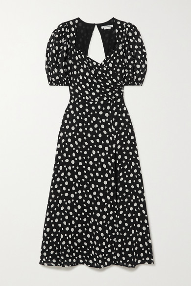 Reformation Net Sustain Wildflower Polka-dot Georgette Midi Dress - Black