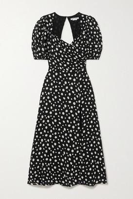 Reformation Net Sustain Wildflower Polka-dot Georgette Midi Dress - Black