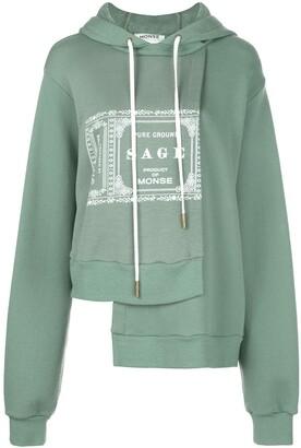 Monse Sage printed asymmetric hem hoodie