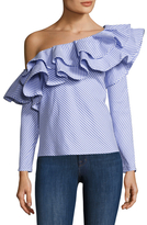 Finer Things One Shoulder Ruffle Blouse