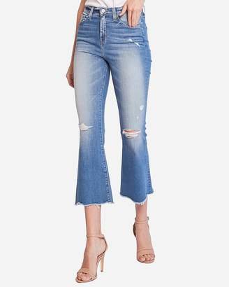 Express Flying Monkey High Waisted Raw Hem Cropped Flare Jeans
