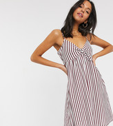 Asos Tall DESIGN Tall cami bow front mini sundress in plum and white stripe