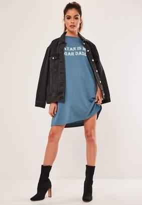 Missguided Blue Oversized Sugar Daddy Slogan T Shirt Dress