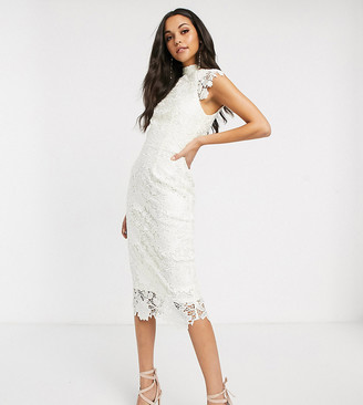 Paper Dolls Tall high neck cap sleeve lace midi dress in winter white