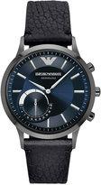 Emporio Armani Men's Renato Hybrid Black Leather Strap Smart Watch 43mm ART3004