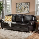 Christopher Knight Home Taro 3-Seat Top Grain Leather Studded Sofa