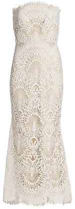 Badgley Mischka Lace Strapless Mermaid Dress