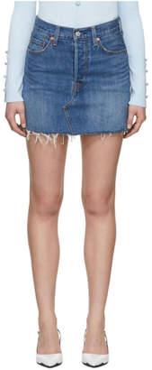 Levi's Levis Blue Denim Deconstructed Miniskirt