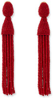 Oscar de la Renta Long Beaded Tassel Clip Earrings, Currant