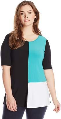Star Vixen Women's Plus-Size Elbow Sleeve Colorblock Tunic