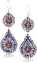 Miguel Ases Amethyst Hydro-Quartz Circle and Teardrop Earrings
