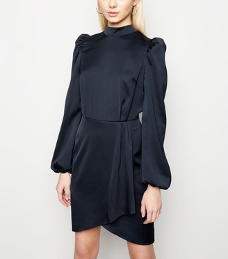 New Look Satin Puff Long Sleeve Mini Dress