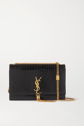 Saint Laurent Kate Croc-effect Glossed-leather Shoulder Bag - Black