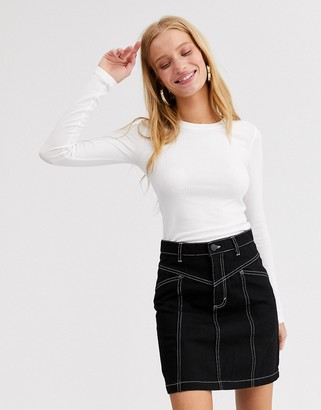 Monki crew neck ribbed long sleeve top in off white