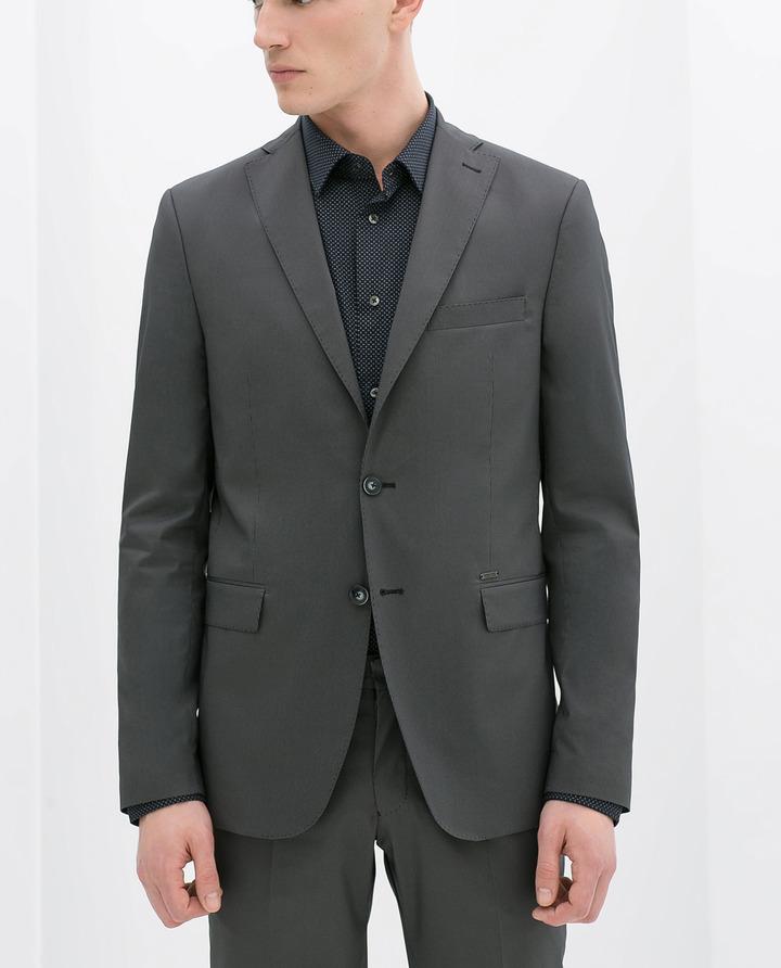 Zara Grey Striped Suit