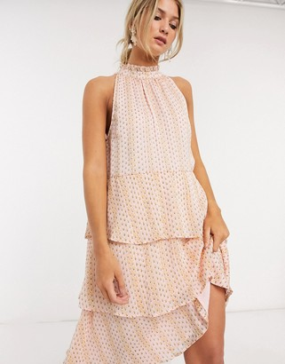 Vila tiered midi dress with halter neck in soft pink print