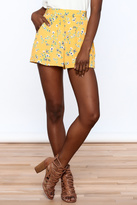 Everly Bright Yellow Floral Shorts