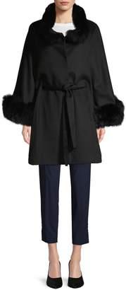 Belle Fare Fox Fur Trim Wool & Cashmere Poncho Coat