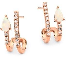 My Story The Janet 14K Rose Gold, Diamond & Opal Faux-Huggie Earrings