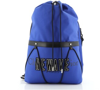 Christian Dior Newave Drawstring Backpack Printed Nylon with Applique