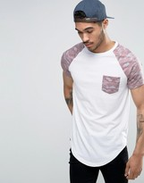 Le Breve Longline T-shirt With Pocket And Contrast Sleve
