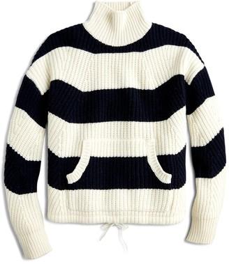 J.Crew Kangaroo Pocket Stripe Turtleneck Sweater
