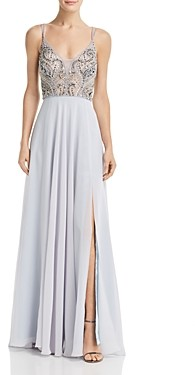Aqua Embellished Chiffon Gown - 100% Exclusive