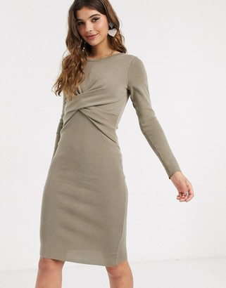 Outrageous Fortune knitted wrapover midi pencil dress in khaki