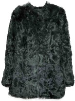 MANGO Green Fur Coat for Women