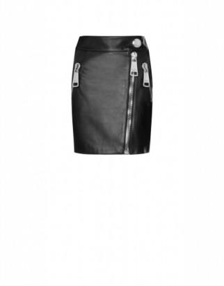Moschino Nappa Leather Miniskirt Macro Zip