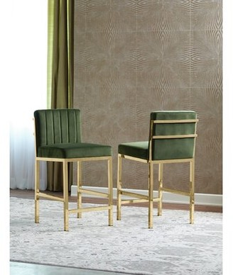 "Everly Quinn Verasha Bar & Counter Stool Color: Green, Seat Height: Bar Stool (30"" Seat Height)"