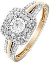 Love DIAMOND 9ct Yellow Gold 30 Points White Diamond Square Double Halo Ring